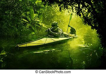 kayak, militar, especiais, selva, forças