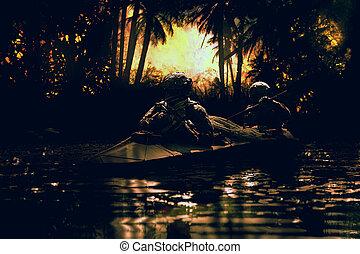 kayak, operadores, especiais, forças, exército