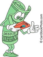 Dollar Bill Character - Illustration of Rolled Dollar Bill...