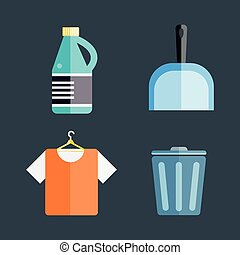 House cleaning tools - Home cleaning tools flat vector icons...