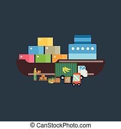 Import export fruits vector illustration. - Import export...