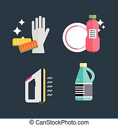 House cleaning tools vector - Home cleaning tools flat...