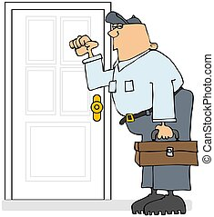 Service Man Knocking - This illustration depicts a...