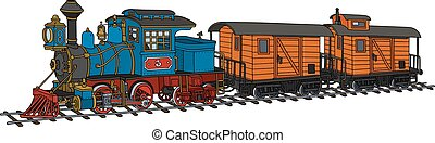 Funny american steam train - Hand drawing of a funny vintage...