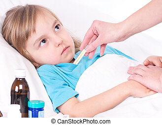 Sick little girl in bed - Mother holding thermometer and...
