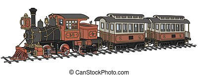 Funny classic american steam train - Hand drawing of a funny...