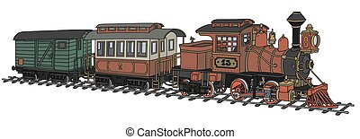 Funny old american steam train - Hand drawing of a funny...