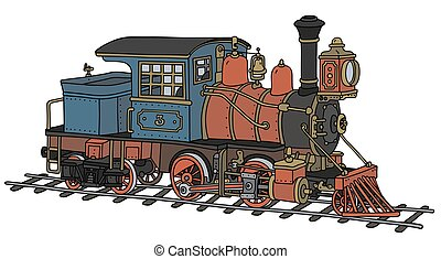Funny american steam locomotive - Hand drawing of a funny...