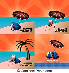Summer vacation - Set of colored summer vacation graphic...