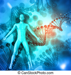 3D Medical background with male figure on DNA strands