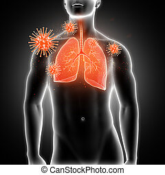 3D medical male figure with lungs highlighted and virus cells