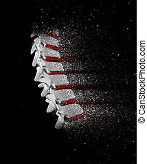 3D spine image with disintegration effect - 3D render of a...