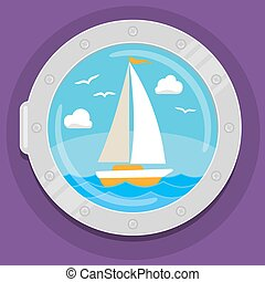 Yacht sailboat flat color icon