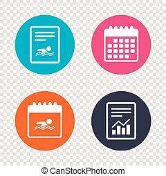 Swimming sign icon. Pool swim symbol. - Report document,...