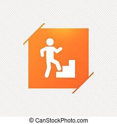 Upstairs icon. Human walking on ladder sign. Orange square...