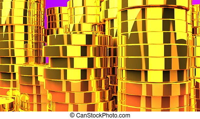 Gold Coins On Purple Background - Loop able 3DCG render...