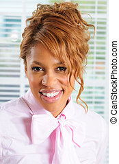 Pink Shirt - Beautiful Young Business Woman Wearing a Pink...