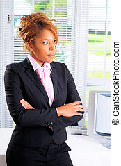 Serious - Pretty Young Woman Stood In Front Of Her Computer...