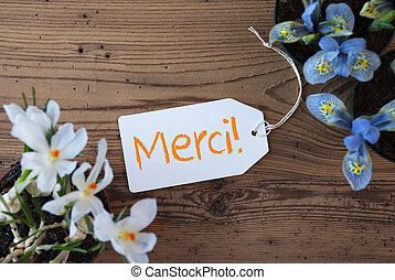 Flowers, Label, Merci Means Thank You - Label With French...