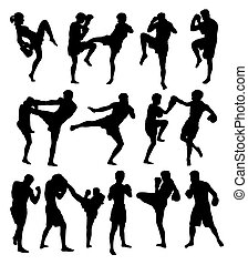 Muay Thai Or Kickboxing Silhouettes, art vector design