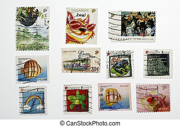 Postage Stamps From Singapore - set of similar old postage...