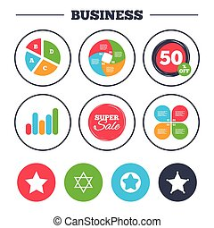 Star of David icons. Symbol of Israel. - Business pie chart....