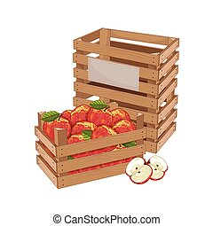 Wooden box full of apple isolated vector