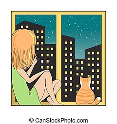 Night city and girl with cat. - Girl and red cat sitting on...