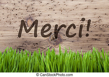 Bright Wooden Background, Gras, Merci Means Thank You -...