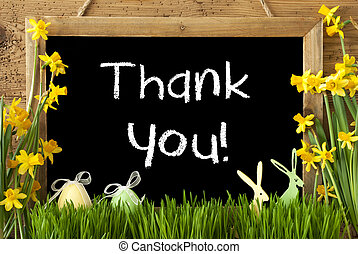 Narcissus, Easter Egg, Bunny, Text Thank You - Blackboard...