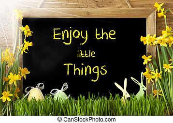 Sunny Narcissus, Easter Egg, Bunny, Quote Enjoy Little...