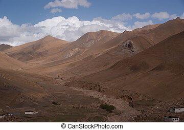 crosscountry - yellow and brown wildness land in tibet of...