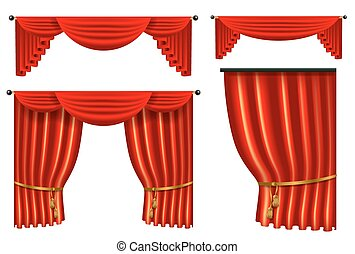 set of 3d red luxury silk curtain, realistic interior...