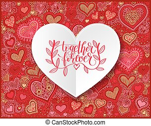 together forever hand written lettering love and friendship...