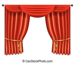 3d red luxury silk curtain, realistic interior decoration...