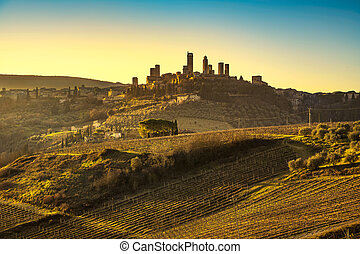 San Gimignano medieval town towers skyline and landscape....
