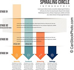 Arrow Downward Stack Infographic - Vector illustration of...