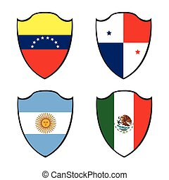 Set of flags - Set of different flags on badges, Vector...