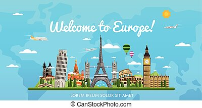 Welcome to Europe poster with famous attractions vector...