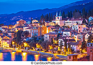 Town of Volosko evening waterfront view, Opatija riviera of...