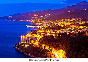 Opatija riviera bay evening view, Kvarner region of Croatia