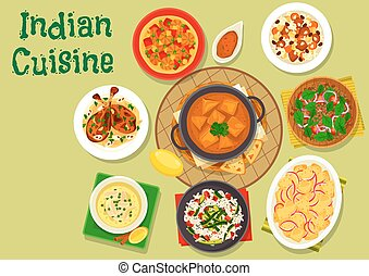 Indian cuisine spicy dinner icon for menu design - Indian...