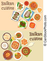Balkan cuisine traditional dishes icon set design - Balkan...