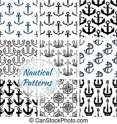 Anchor and compasses nautical seamless pattern set - Navy...