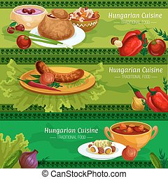 Hungarian cuisine meat dishes banner set - Hungarian cuisine...