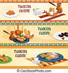 Turkish cuisine sweets with coffee banner set - Turkish...