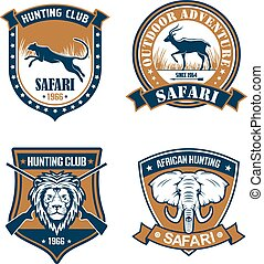 Hunting club and safari trip heraldic badge set