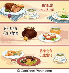 British cuisine main and snack dishes banner set - British...