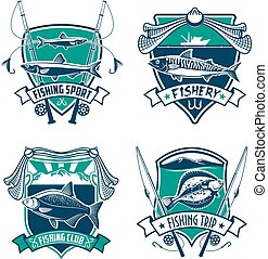 Fishing sport club heraldic badge set design - Fishing sport...