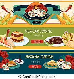 Mexican cuisine banner set with snack and dessert - Mexican...